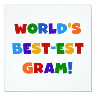 World's Best-est Gram Bright Colors Gifts 5.25x5.25 Square Paper Invitation Card