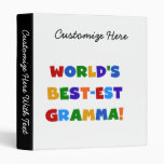 World's Best-est Gramma Bright Colors 3 Ring Binders