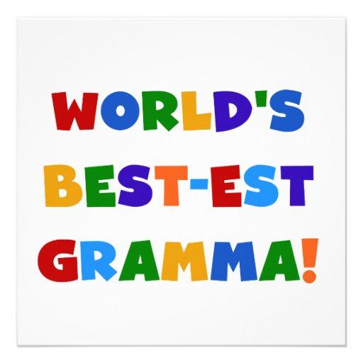 World's Best-est Gramma Bright Colors Personalized Announcements