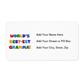 World's Best-est Gramma Bright Colors Label