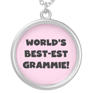 World's Best-est Grammie Black or White Gifts Round Pendant Necklace