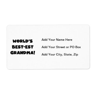 World's Best-est Grandma Black T-shirts and Gifts Label