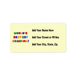 World's Best-est Grandma Bright T-shirts and Gifts Label