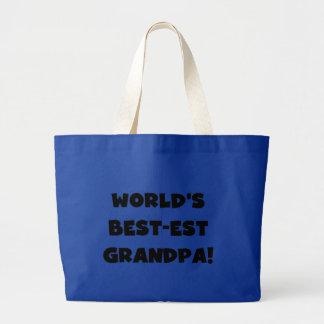 World's Best-est Grandpa Black or White Text Jumbo Tote Bag