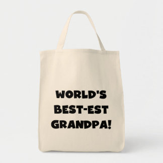 World's Best-est Grandpa Black or White Text Grocery Tote Bag