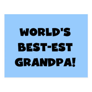 World's Best-est Grandpa Black or White Text Postcard