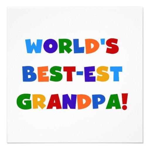 World's Best-est Grandpa Bright Colors Gifts Custom Invitations
