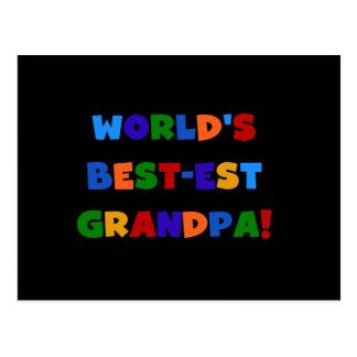 World's Best-est Grandpa Bright Colors T-shirts Postcard