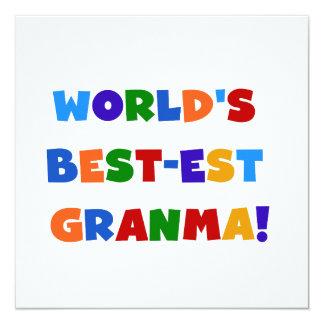 World's Best-est Granma Bright Colors 5.25x5.25 Square Paper Invitation Card