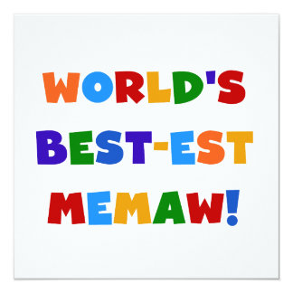 World's Best-est Memaw Bright Colors Tshirts Card
