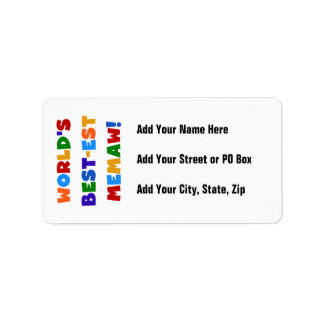 World's Best-est Memaw Bright Colors Tshirts Label