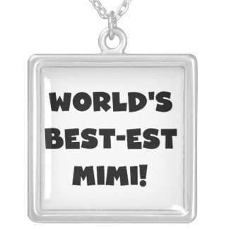 World's Best-est Mimi Black Text T-shirts and Gift Square Pendant Necklace