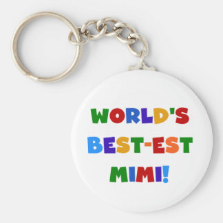 World's Best-est Mimi Bright Colors T-shirts Gifts Basic Round Button Keychain