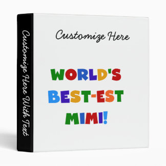 World's Best-est Mimi Bright Colors T-shirts Gifts Binder