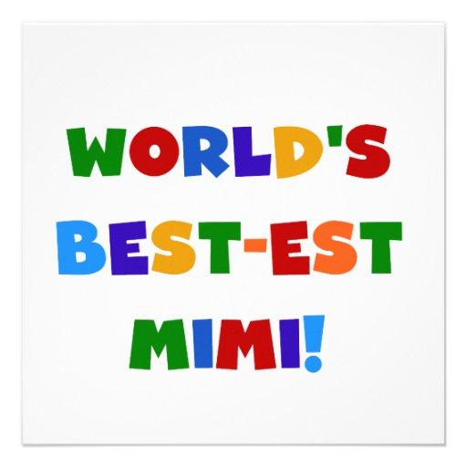 World's Best-est Mimi Bright Colors T-shirts Gifts Custom Invitation