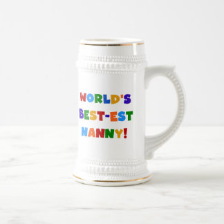 World's Best-est Nanny Bright Colors Gifts Beer Stein