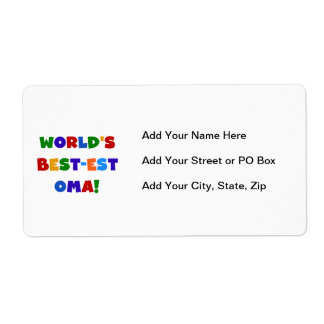 World's Best-est Oma Bright Colors Gifts Label
