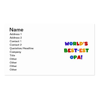 World's Best-est Opa Bright Colors Gifts Double-Sided Standard Business Cards (Pack Of 100)