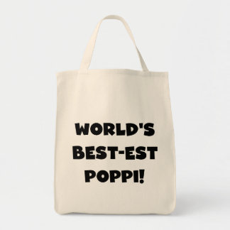 World's Best-est Poppi Black Text Gifts Grocery Tote Bag