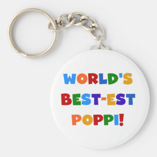 World's Best-est Poppi Bright Colors Gifts Basic Round Button Keychain
