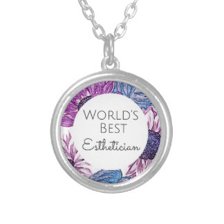 World's Best Esthetician gift 5 Silver Plated Necklace