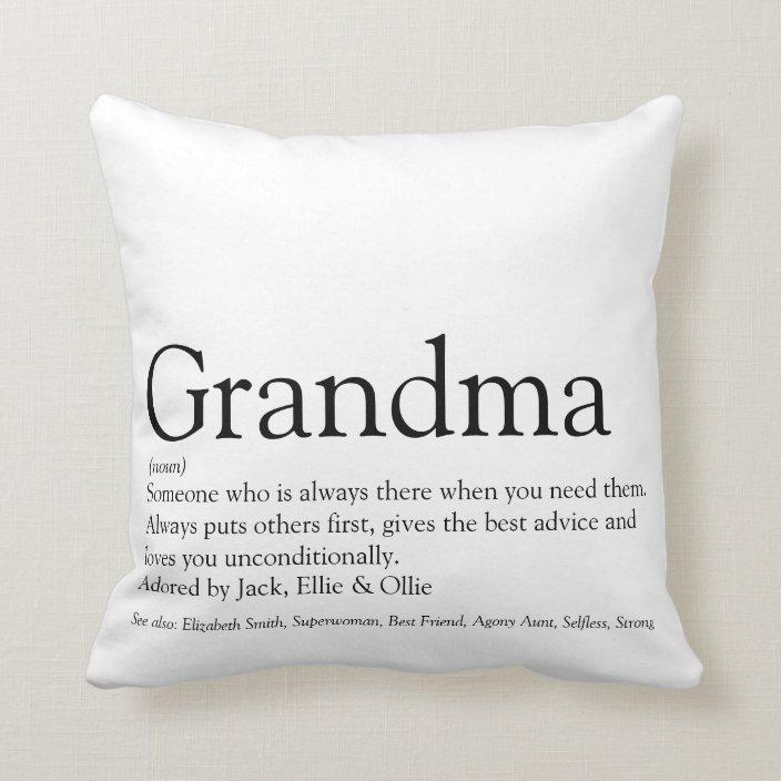 World S Best Ever Grandma Grandmother Definition Throw Pillow Zazzle Com