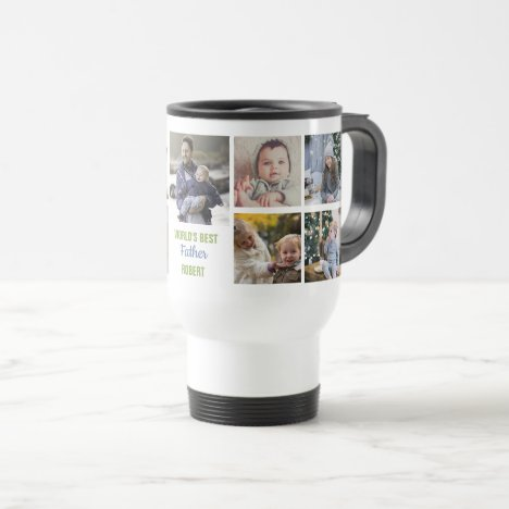 World's Best Father Instagram Photo Collage Name Travel Mug