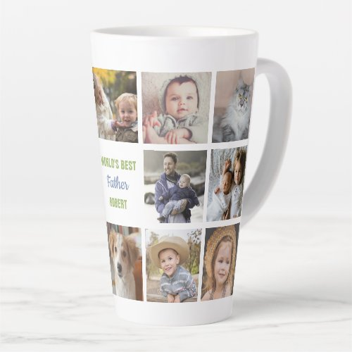 Worlds Best Father Name Instagram Photo Collage Latte Mug