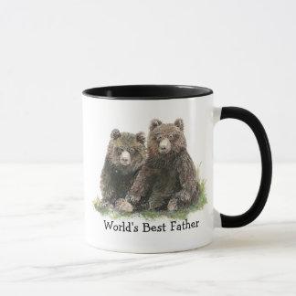 World's Best Father, Watercolor Cute Bears Mug