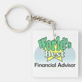 World's best Financial Advisor Square Acrylic Key Chain