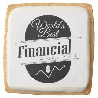 World's Best Financial Analyst Square Premium Shortbread Cookie