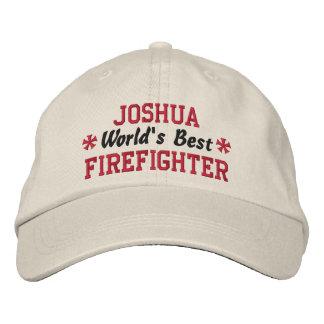World's Best FIREFIGHTER Custom Name V04 Embroidered Baseball Cap