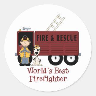 World's Best Firefighter Woman Classic Round Sticker