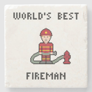 World's Best Fireman Stone Beverage Coaster