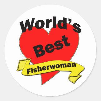 World's Best Fisherwoman Classic Round Sticker