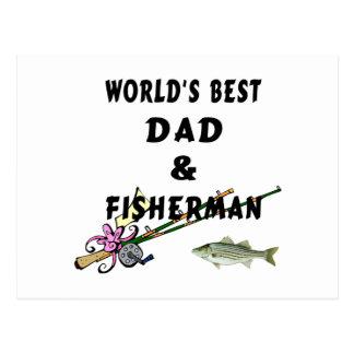 Worlds Best Fishing Dad Postcard