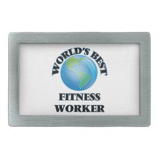 World's Best Fitness Worker Rectangular Belt Buckle