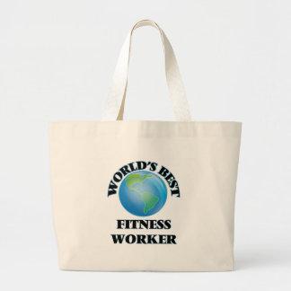World's Best Fitness Worker Jumbo Tote Bag