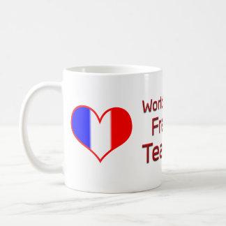 World's Best French Teacher with Heart Flag Coffee Mug