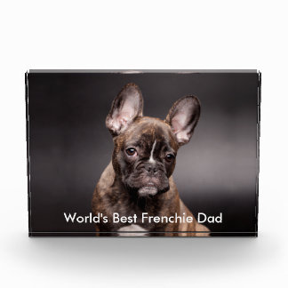 """World's Best Frenchie Dad"" Award Paperweight"
