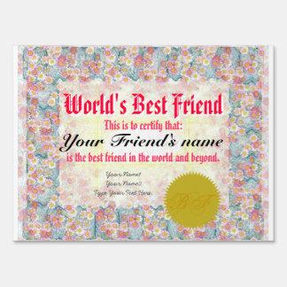 World's Best Friend Certificate Yard Signs