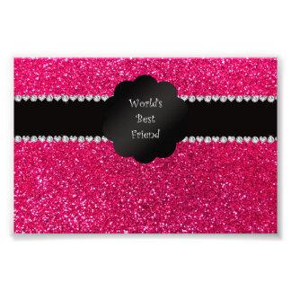 World's best friend pink glitter photo print