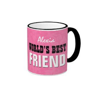 World's Best FRIEND Pink Grunge V25 Ringer Coffee Mug