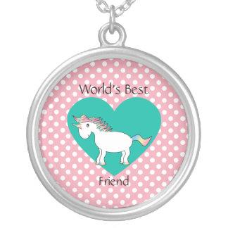 World's Best friend unicorn Round Pendant Necklace