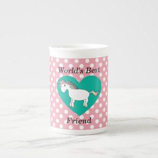 World's Best friend unicorn Bone China Mugs
