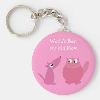 World's Best Fur Kid Mom Keychains