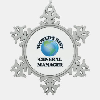 World's Best General Manager Snowflake Pewter Christmas Ornament