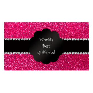 World's best girlfriend pink glitter Double-Sided standard business cards (Pack of 100)