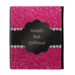 World's best girlfriend pink glitter iPad folio covers