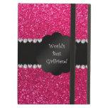 World's best girlfriend pink glitter iPad folio case